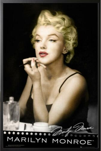 Marilyn Monroe Lipstick Vanity Dry Mounted Poster in Black Frame 24x36