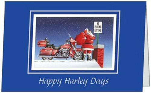 20 Christmas HOLIDAY Humorous Santa HARLEY Park  5x7 Folded CARDS ENV SEALS USA