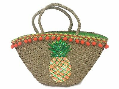 New RRP £151 Multi Pitusa PINATA Straw Tote Bag
