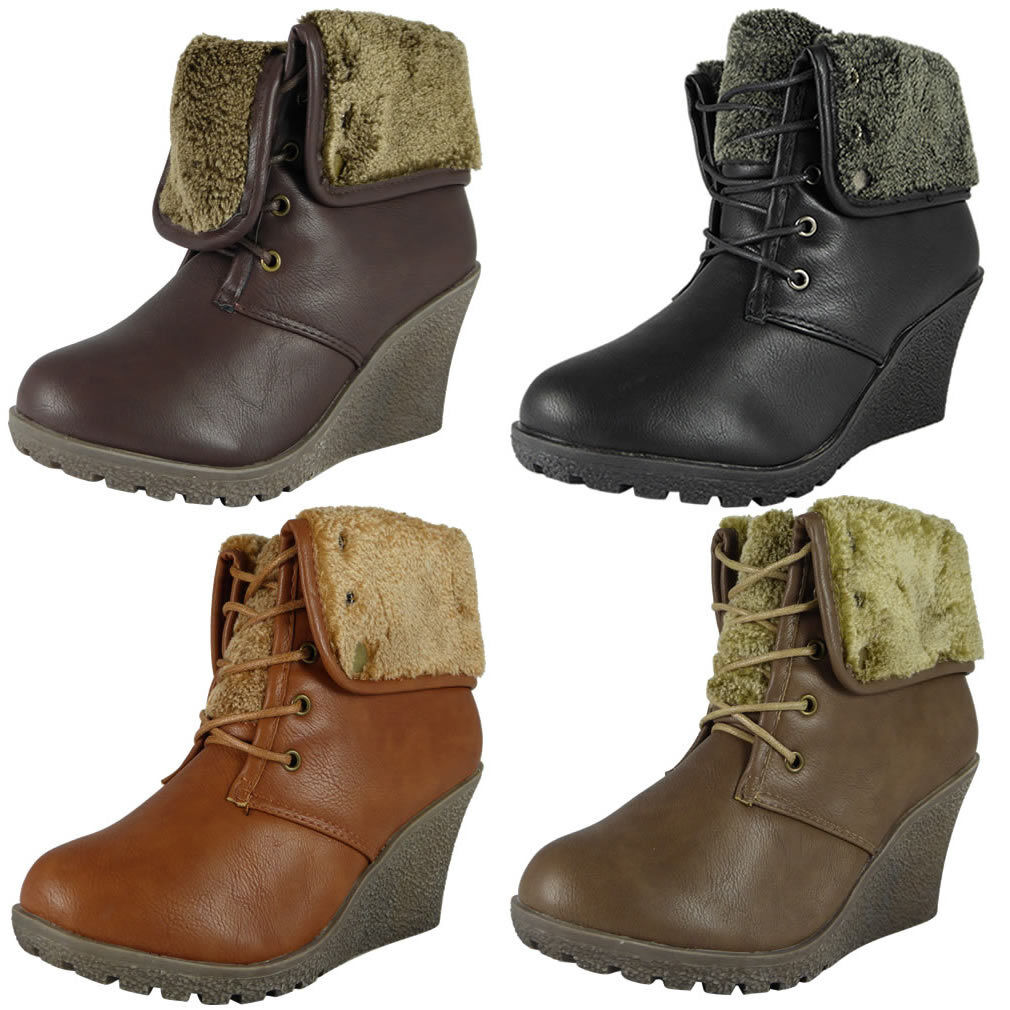 WOMENS LADIES LACE UP FUR COLLAR WEDGES GRIP SOLE WORK ANKLE BOOTS SHOES SIZE