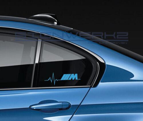 M heart beat pulse Decal Sticker Left M1 M2 M3 M4 M5 MX5 MZ4 X3 X5 BMW Pair