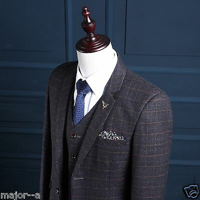 Grey 3 Pieces Tweed Herringbone Check Best Men Suits Formal Wedding Prom Tuxedos