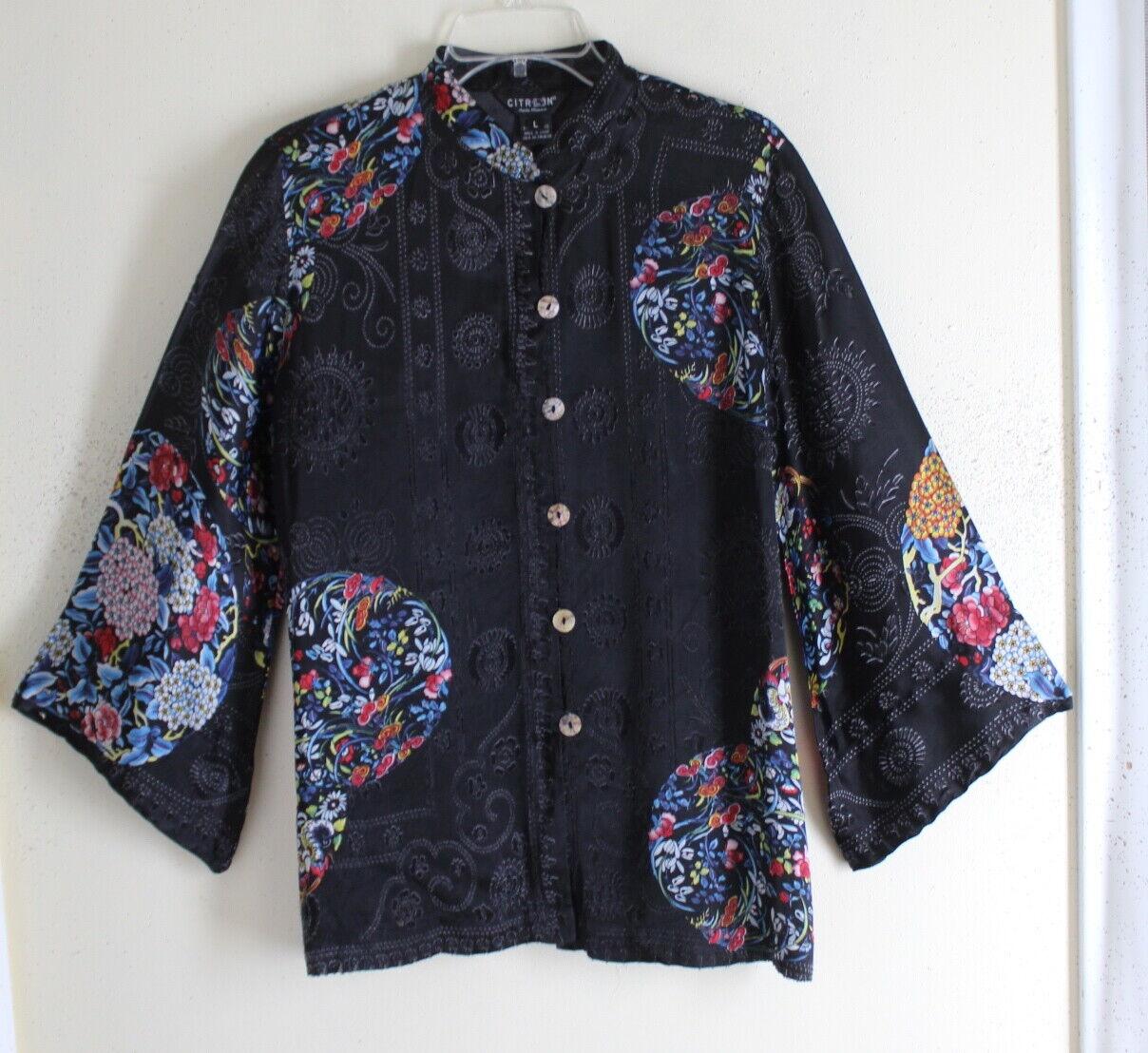 Citron Santa  Monica-Talla L Imperial roundels Asian Devoré Top Camisa azulsa Floral  El nuevo outlet de marcas online.