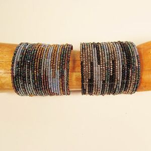 Set-of-2-Blue-Multi-Color-Block-Beaded-Wide-Cuff-Handmade-Bracelet-Glass-Beads