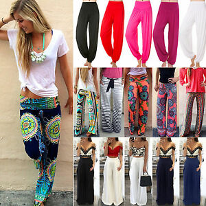 b8d99c975c Womens Harem Long Pants Hippie Wide Leg Yoga Dance Boho Loose ...