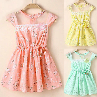 Toddler Kid Girls Princess Skirt Lace Floral Cotton Mini One-Piece Party Dresses