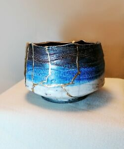 Kintsugi, Wabi -Sabi Collection,  Raku-Wabi-Sabi Pot with Kintsugi repair