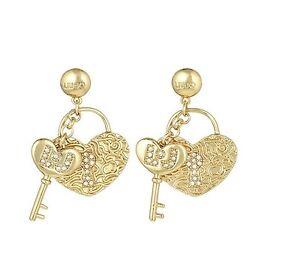 Dettagli su Liu Jo Gioielli Jewellery Ottone Donna Woman LJ845 Orecchini  Oro Cuore Chiave b99f6d849e1