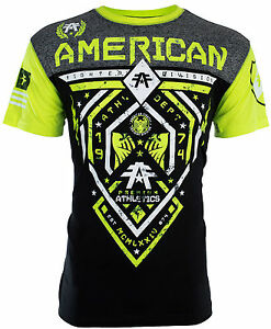 AMERICAN FIGHTER Mens T-Shirt FAIRBANKS Athletic BLACK NEON GREEN Biker UFC $40