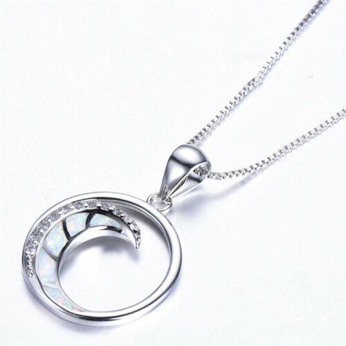Beautiful Delicate Silver White Artificial opal Pendant Necklace Women Jewelry