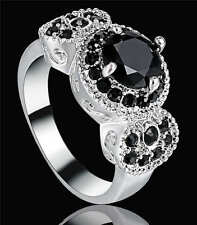 Lady Jewelry Black Sapphire Band Cute 18KT white Gold Filled Fashion Ring Size 6