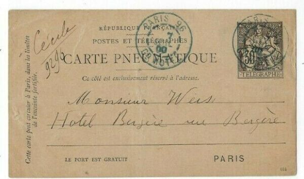 1900 Paris France, 30 C Pneumatique Telegraph Carte Postale Adresse Locale