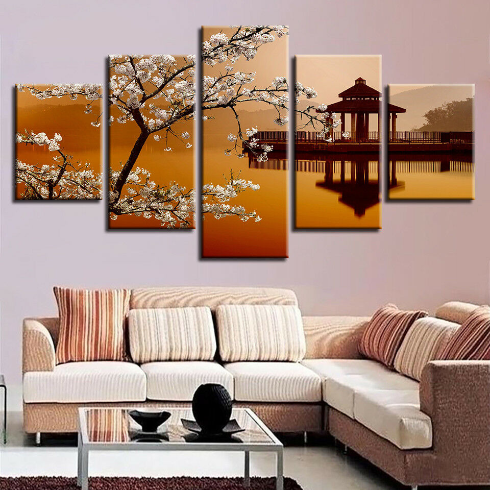 Pear Flowers Small Pavilion Painting 5 Piece Canvas Print Wall Art Poster