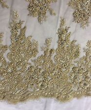 Metallic Gold Flowers Embroider And Heavy Beaded On A Mesh Lace Fabric-prom-yard
