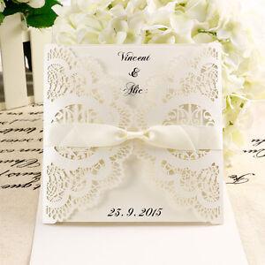10X DIY Laser Cut Lace Wedding Invitations card & Envelope w ...