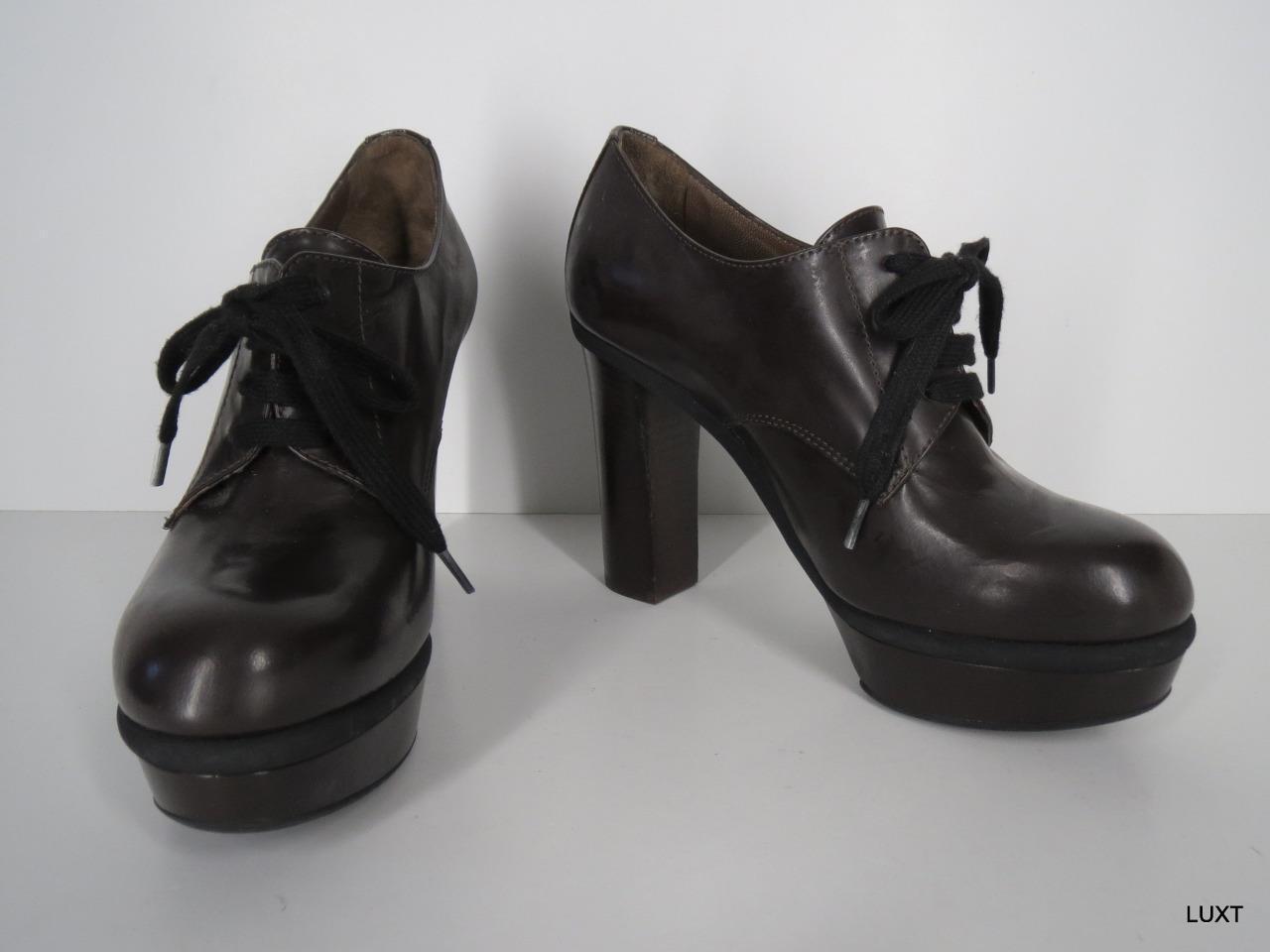 Marni Stiefelies Stiefelies Stiefelies Heels Lace Up  920 Größe 7.5 37.5 Leather braun Platform Block 9ef452