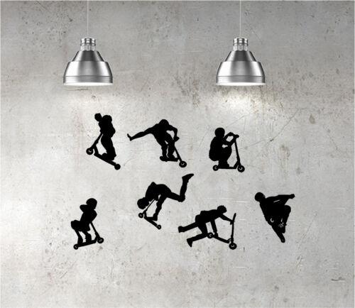 7 X Stunt Trottinette Art Mural Autocollants Enfants Chambre Décalque Jd Bug