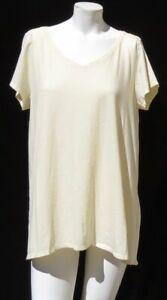PURE-J-JILL-Heather-Yellow-Pima-Cotton-V-Neck-Elliptical-Tee-Shirt-Top-US-L-XL