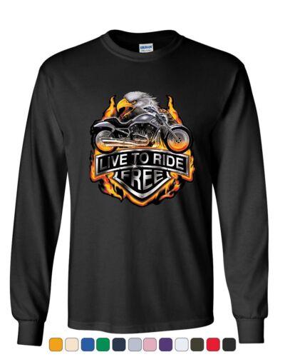 Live to Ride Long Sleeve T-Shirt Flaming Eagle /& Bike Biker MC Tee