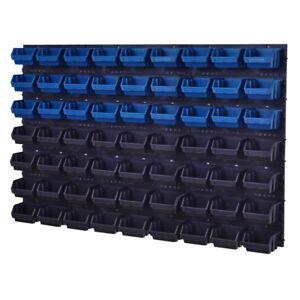 67-teiliges-SET-Lagersichtboxenwand-Stapelboxen-mit-Montagewand-Werkzeugwand