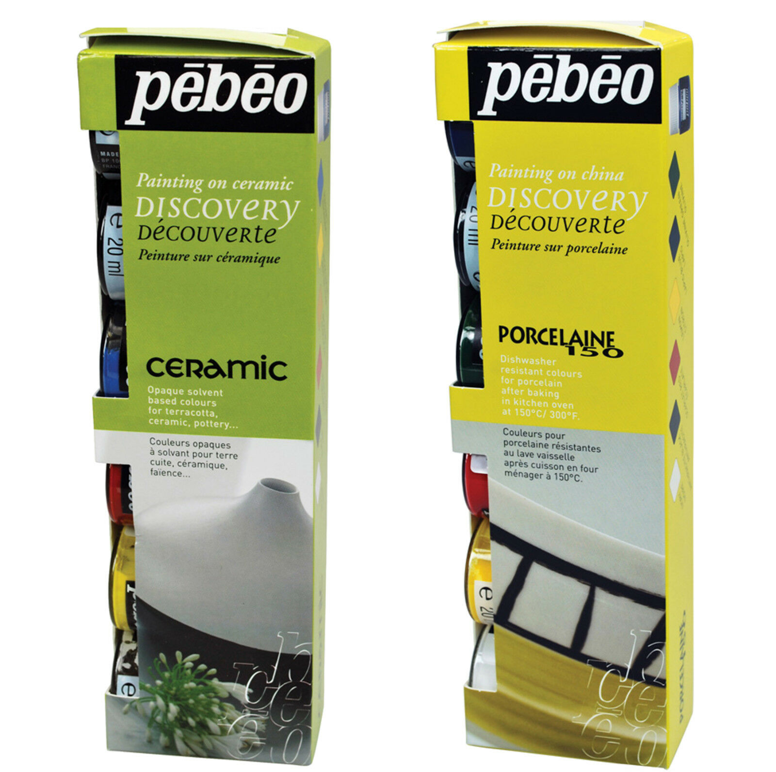 pebeo porcelaine 150 & ceramic paint discovery sets painting on