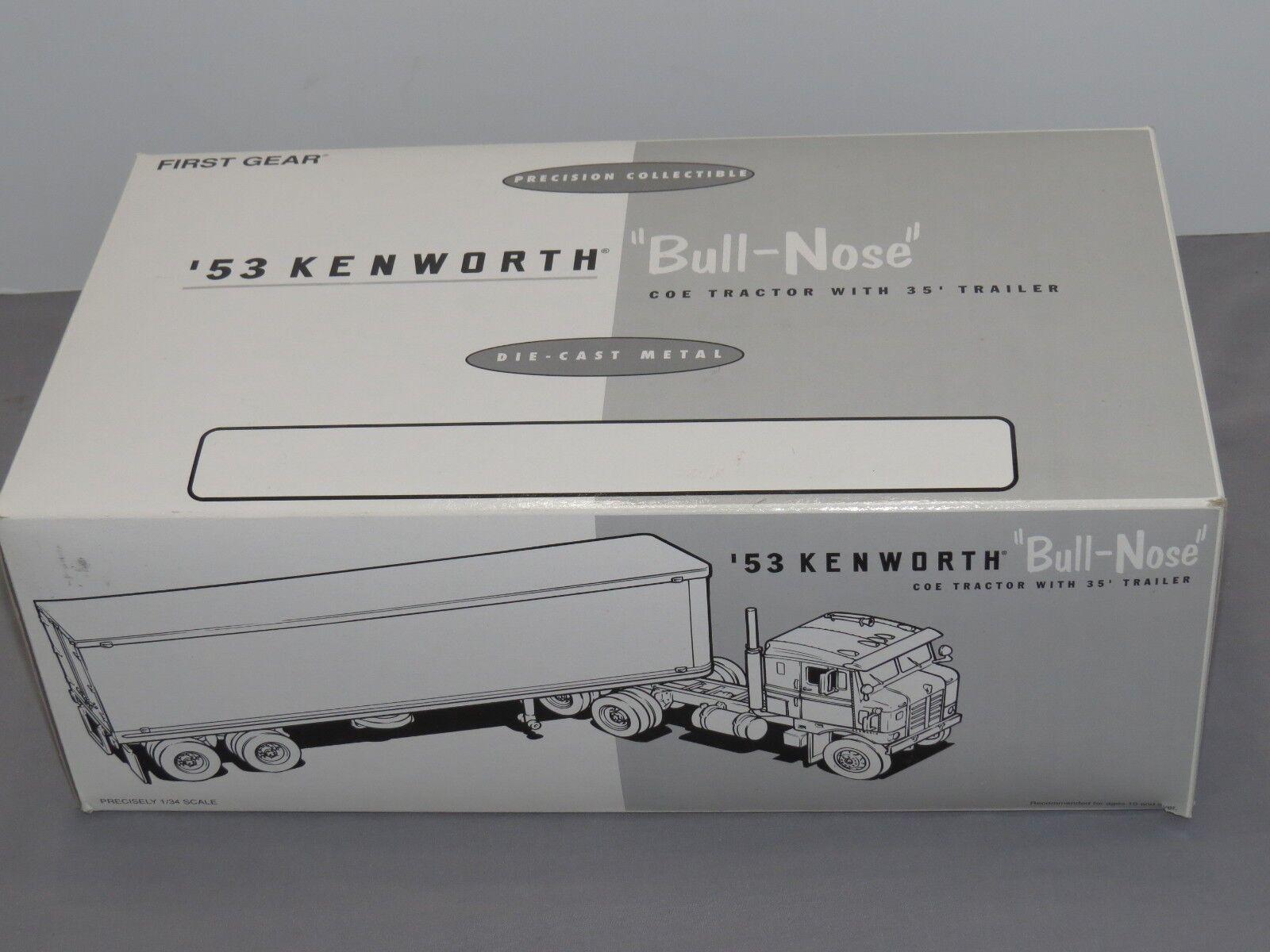 First Gear Kenworth Nariz Toro 1953-cabina sobre motor Diecast 1 34 Nuevo en Caja Fuerte