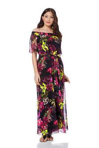 Roman-Originals-Women-039-s-Floral-Bardot-Maxi-Dress-Sizes-10-20