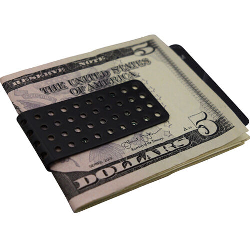 Mens Black Bullet Hole Money Clip Stainless Steel Slim Wallet Card Cash Holder