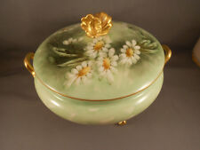 Old Antique GDA Limoges France Porcelain Hand Painted Cov Ftd Bowl w Daisies