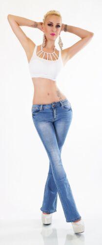 Damen Bootcut Jeans Hose Schlaghose Denim blau washed Stretch XS S M L XL