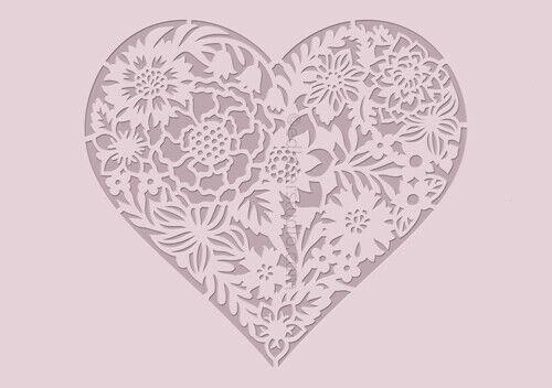 Amour cœur pochoir vintage modèle mariage meubles Fabrication Carte Artisanat HE64