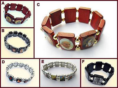 Heiligenarmband Armband Holz Hämatit Metall Unisex Maria Jesus Johannes Paul 2