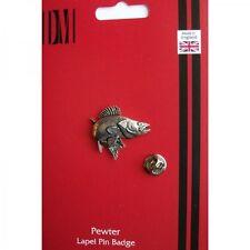 F24 Zander / Walleye Pesca Pesci peltro inglese bavero pin badge xtspbf24