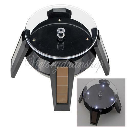 Solar Powered Jewelry Rotating Display Stand Turn Table With LED Light Black XD
