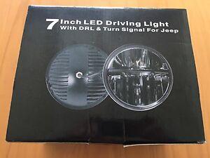 1-x-7-034-LED-DRIVING-LIGHT-Headlight-Jeep-High-Low-DRL-Angel-Eyes-H4-TO-H13-NIB