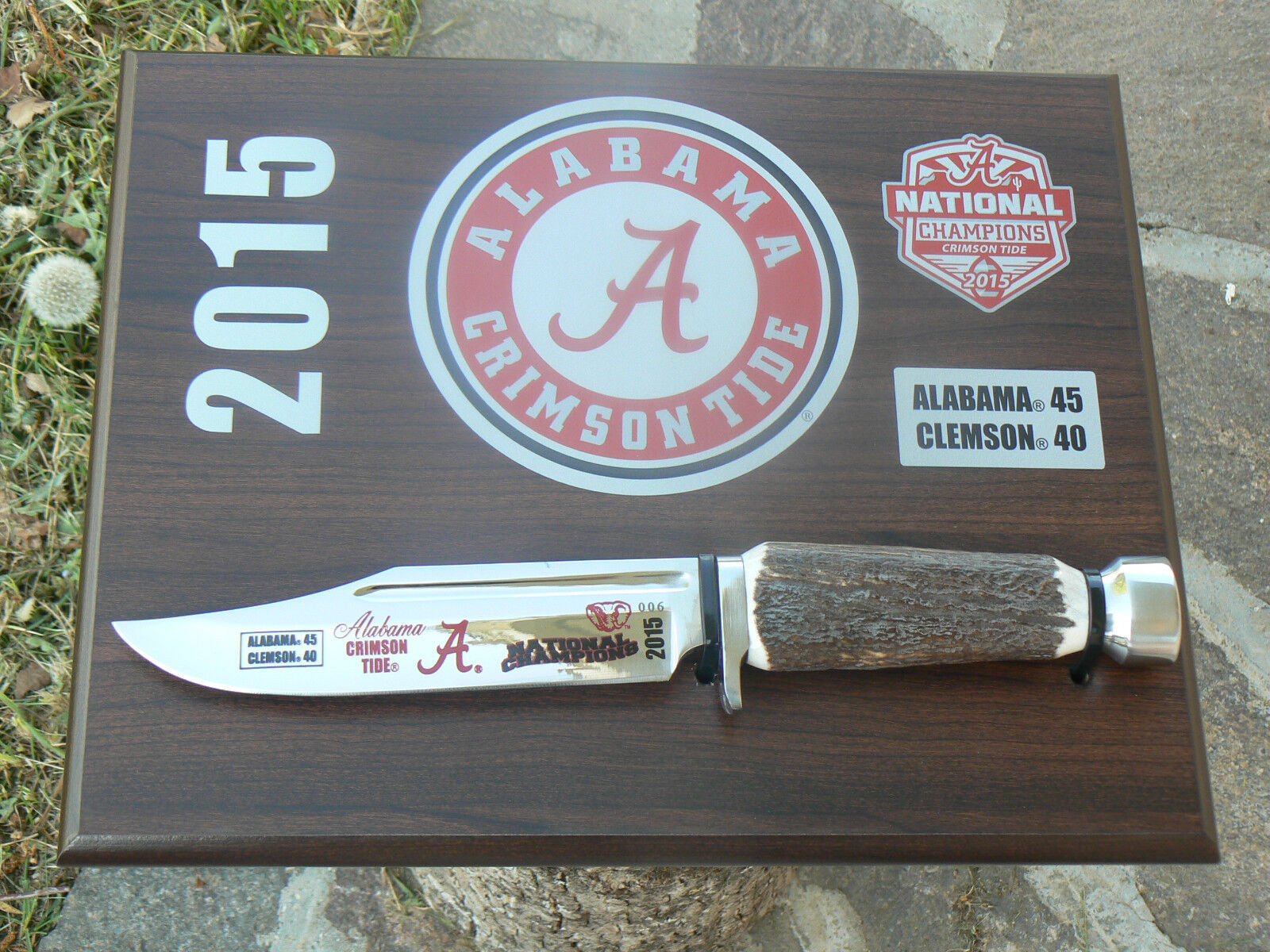 Coltello Hen Hen Hen & Rooster HRAL155017 Alabama Bowie National Champions 2015 knife 7edfc6