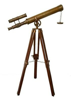 Details about  /22 Inch Solid Brass Marine Navy Nautical Telescope With Wooden Tripod Stand