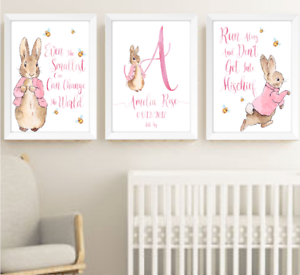 Details About Peter Rabbit Beatrix Potter Baby Nursery Decor Print Set Bunny Art Prints