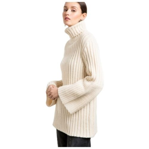 Ivory Chunky Knit Bell Sleeve Turtleneck Sweater C5