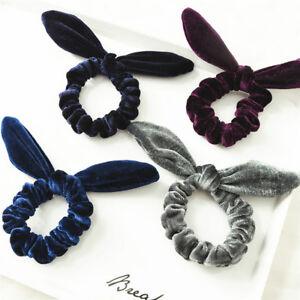 Velvet Bow knot Stretch Hair Tie Scrunchies Bunny Ears Hair Ring ... 3fa1bd4ac8e