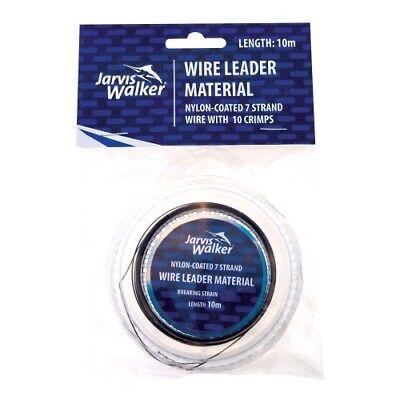 Jarvis Walker Black Nylon coated Wire trace leader 10m crimps  ALL VARIETIES