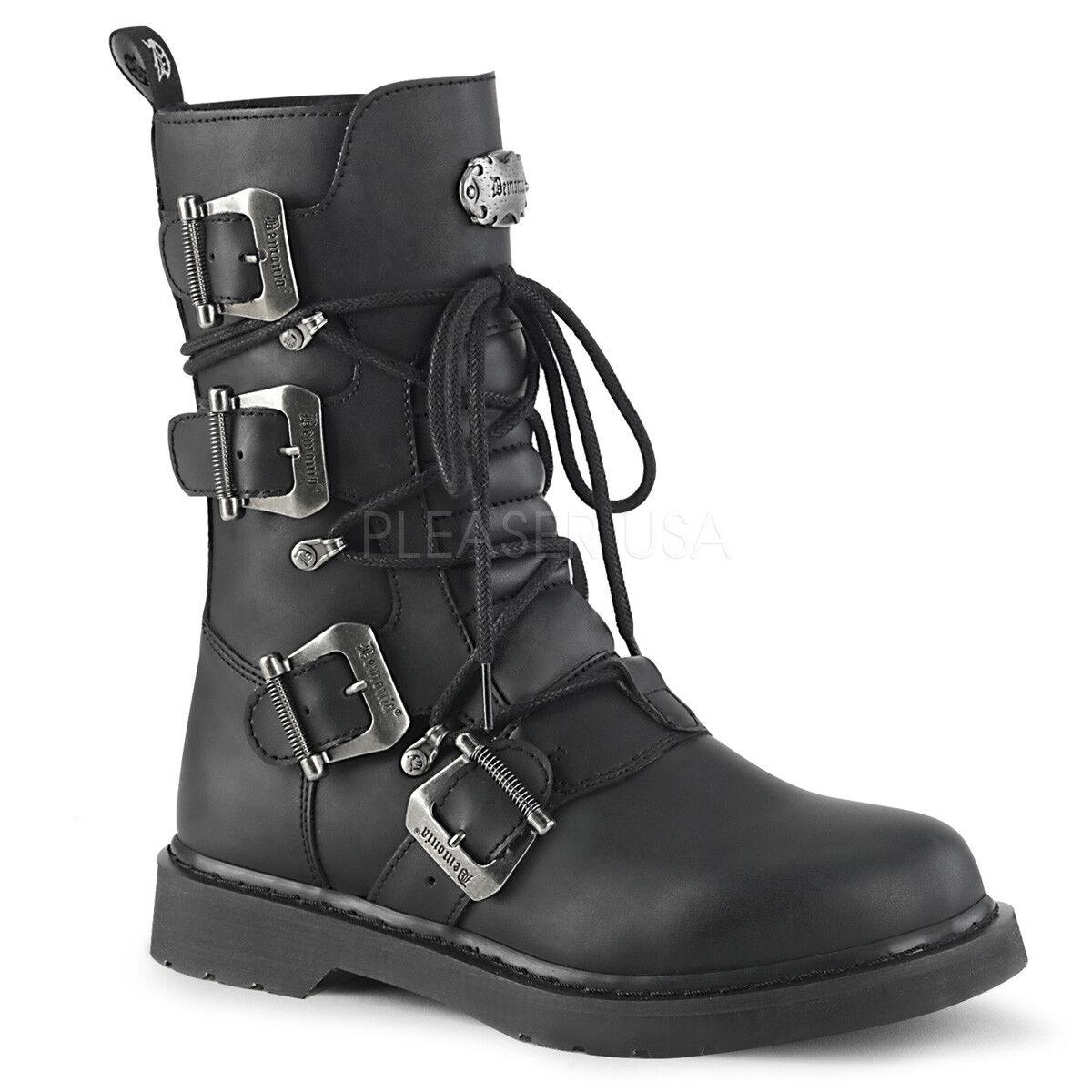 Demonia para Hombre Gotico Goth Punk Rock Biker Negro botas De Combate Perno - 265