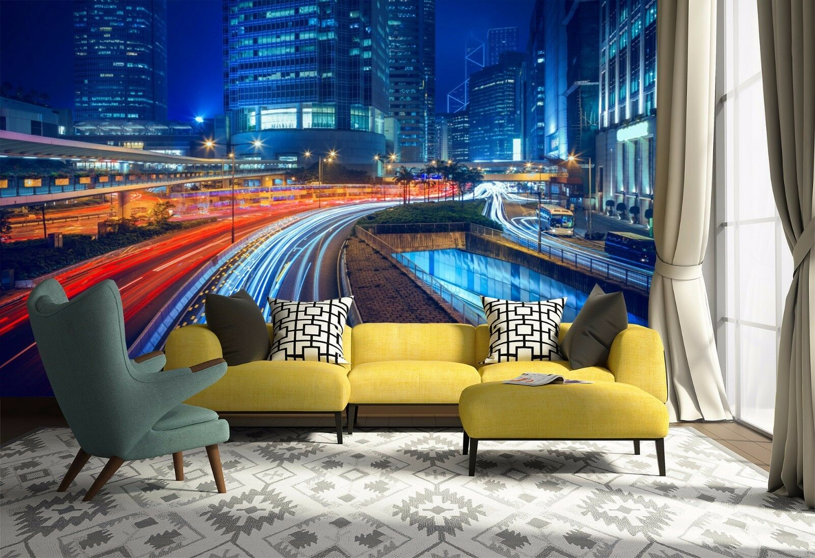 3D City Road Lights 800 Wallpaper Mural Paper Wall Print Wallpaper Murals UK