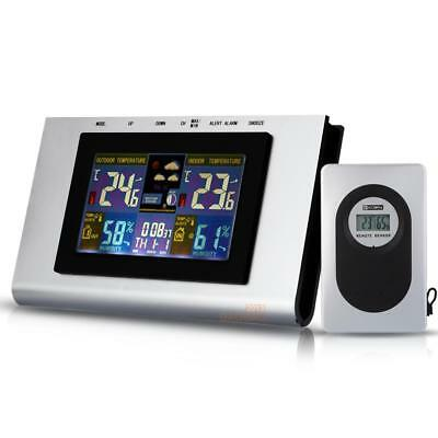 Indoor/Outdoor Digital LCD Wireless Color Weather Station Temp Clock Calendar
