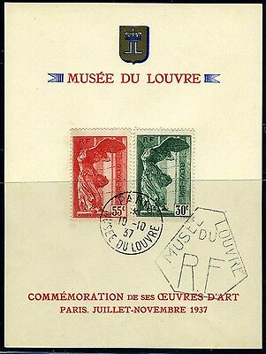 France B66-67 Used Winged Victory Set on Louvre Souvenir Card from 1937