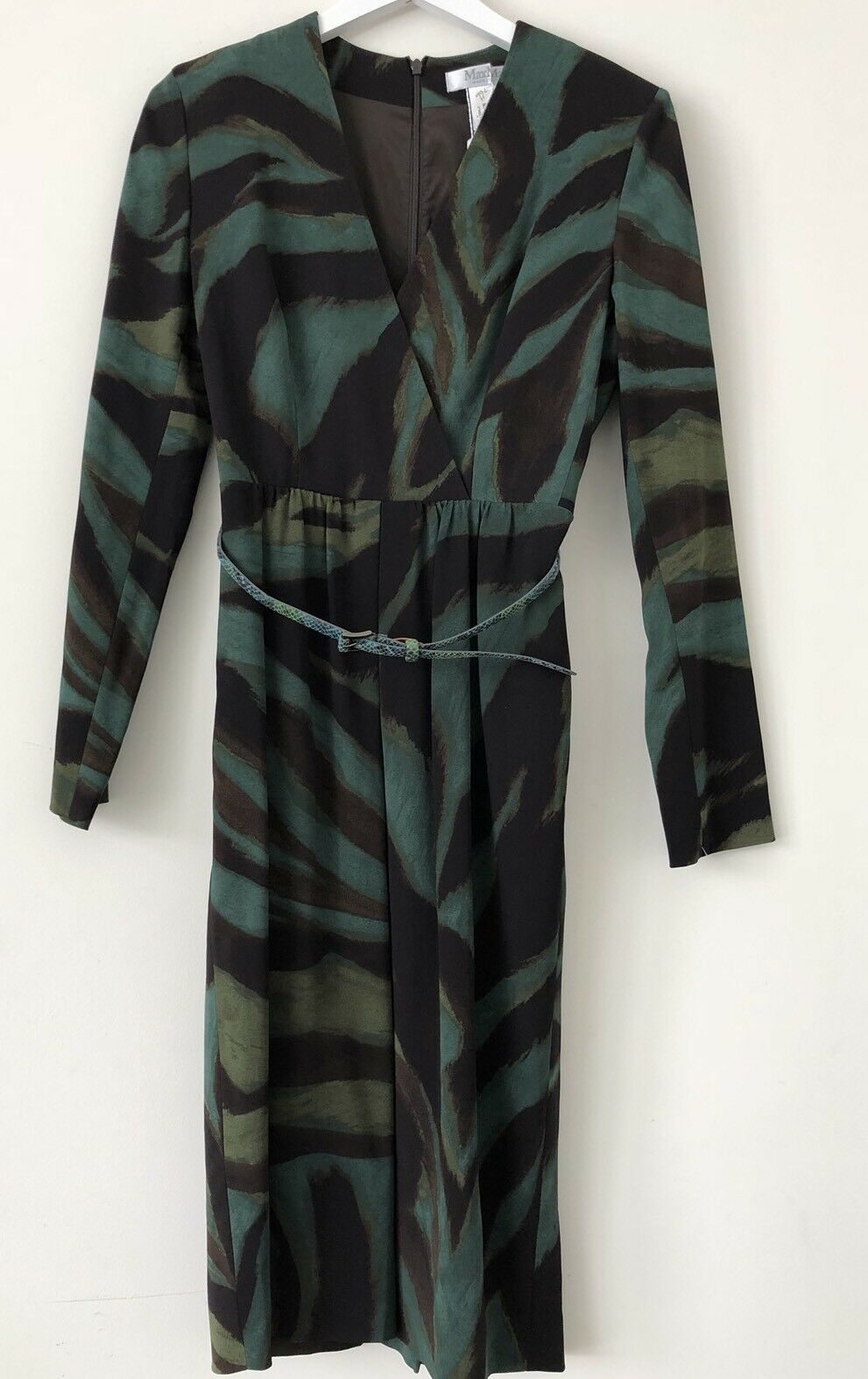 Max Mara Giglio Patterned Green Belted Sheath Work Dress, 44,  8