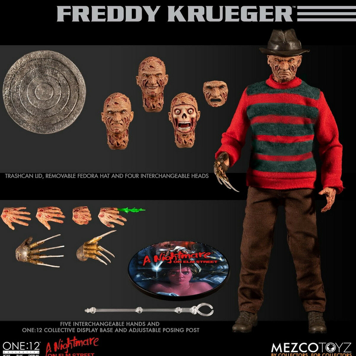 Mezco Toyz 77390 1/12 FROTdy Krueger Action Figures A Nightmare on Elm Street