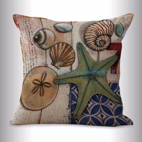US SELLER-4pcs cushion cover cushion covers sea life seashell coastal nautical
