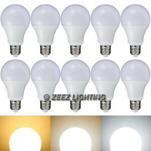10X 7W Daylight Cool White LED Light Bulbs A-Shaped A19 EQ.60W Incandescent Lamp