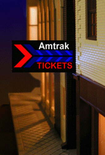 MILLER ENGINEERING AMTRAK TICKET ANIMATED NEON SIGN KIT HO//O SCALE train 64811 L